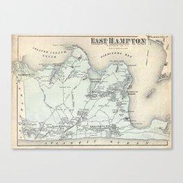 Vintage Map of East Hampton New York (1873) Canvas Print