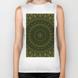 Mandala in olive green tones Biker Tank