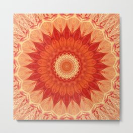 Mandala orange red Metal Print
