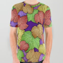 HAPPY MULTICOLOR THIMBLEBERRY LEAVES All Over Graphic Tee