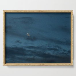 Morning Moonrise: Crescent in the Clouds Serving Tray