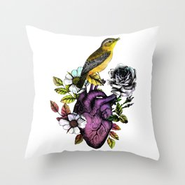 Songbird Perching on the HeART Throw Pillow