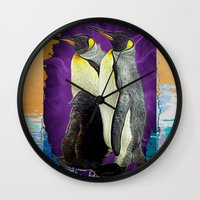 penguins Wall Clocks featuring Penguins by SwanniePhotoArt