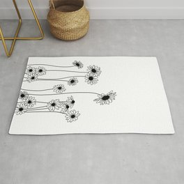 Minimal line drawing of daisy flowers Rug