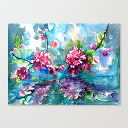 CHERRY TREE MIRRORING IN THE WATER - WATERCOLOR Canvas Print
