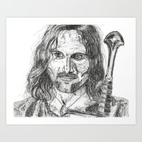 aragorn Art Prints featuring Aragorn by Mona Guilbeault