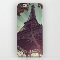 eiffel tower iPhone & iPod Skins featuring Eiffel Tower by Rhianna Power