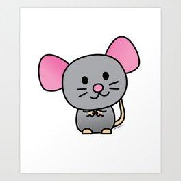 Happy rat rodent mouse pet gray tail Art Print