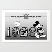 mickey Art Prints featuring Mickey by Small Worlds