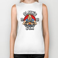 gym Biker Tanks featuring Sloth's gym by Buby87