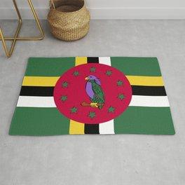 Dominica flag emblem Rug