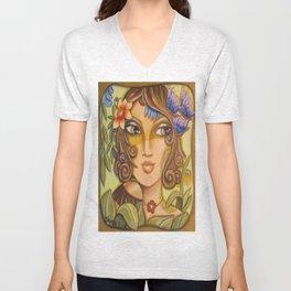 Mona Lisa's Butterflys Unisex V-Neck
