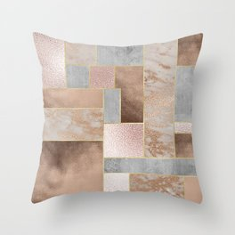Copper and Blush Rose Gold Marble Quadrangle Geometrical Shapes Throw Pillow