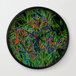 Neon Garden Flowers Wall Clock