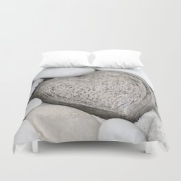 Stone Heart and pebble greige tones Duvet Cover