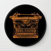 typewriter Wall Clocks featuring Typewriter by Jessica Slater Design & Illustration