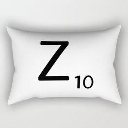 Letter Z - Custom Scrabble Letter Tile Art - Scrabble Z Initial Rectangular Pillow