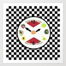 Kitchen Food Clock Art Print
