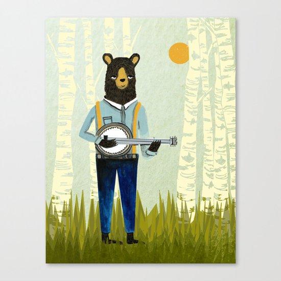 Bear's Bourree - Bear Playing Banjo Canvas Print