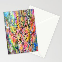 Radha Krishna Abstract colorful painting by Manjiri Kanvinde Stationery Cards