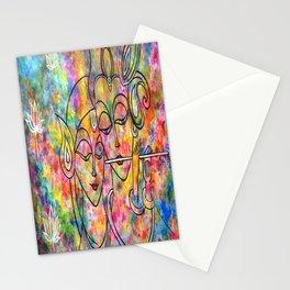 Radha Krishna Abstract colorful painting by Manjiri Kanvinde Stationery Cards