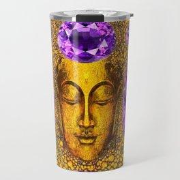 ART NOUVEAU AMETHYST PURPLE & GOLD BUDDHA ABSTRACT Travel Mug
