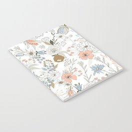Abstract modern coral white pastel rustic floral Notebook