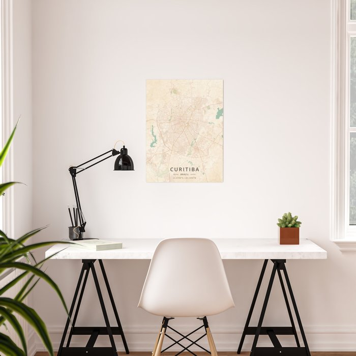 Curitiba, Brazil - Vintage Map Poster