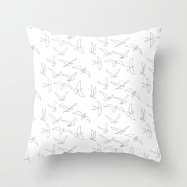 flock - linear birds pattern Throw Pillow