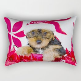 Big Bruiser the Yorkie in a Santa Hat Rectangular Pillow