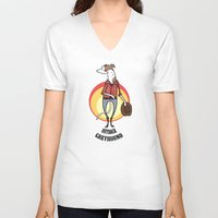 greyhound V-neck T-shirts featuring Outback Greyhound by Elspeth Rose Design