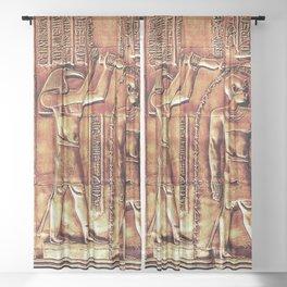 Egyptian Thoth Horus Hieroglyph Pyramid Sheer Curtain