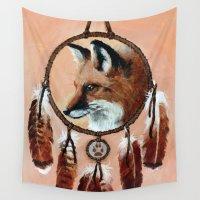 medicine Wall Tapestries featuring Fox Medicine Wheel by Brandy Woods