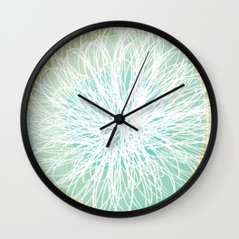 Doodle Flowers in Mint by Friztin Wall Clock