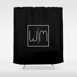 """"""" Mirror Collection """" - Minimal Letter W Print Shower Curtain"""