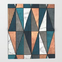 Copper, Marble and Concrete Triangles with Blue Throw Blanket