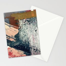 Kelly [2]: a bold, textured, abstract mixed media piece in fall colors/ blue, burnt sienna, ochre Stationery Cards