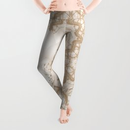 Butterfly on mandala in iced coffee tones Leggings