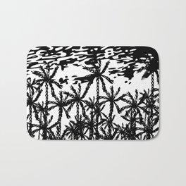 Black white abstract tropical palm tree art Bath Mat