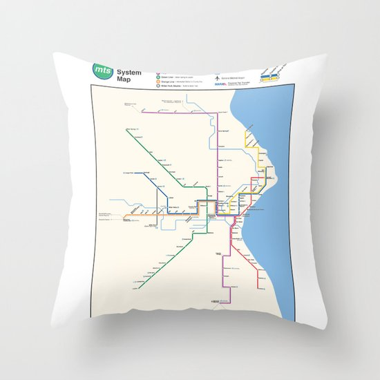 Milwaukee Transit System Map Throw Pillow