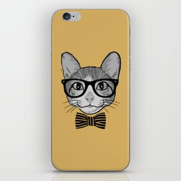 Cat Hipster with Stripes Bow Tie iPhone Skin