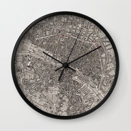 Vintage Map of Paris France (1837) Wall Clock
