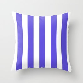 Majorelle blue - solid color - white vertical lines pattern Throw Pillow