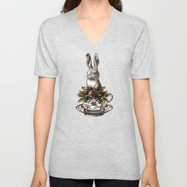 Rabbit in a Teacup | Rabbit and Flowers | Bunny Rabbits | Bunnies | Easter Rabbits | Hares | Unisex V-Neck