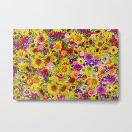 Sunflowers, Red Poppies, and Dahlias flower collage Metal Print