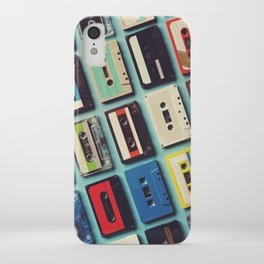 Cassette tape aerial view vintage style collection iPhone Case