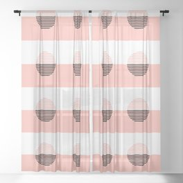 Horizons Geometric Sun Shine Stripe Design 7 - Peach Pink Sheer Curtain