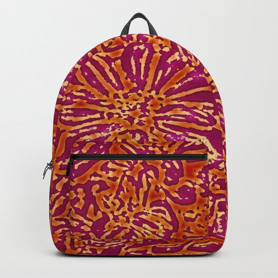 Marigold Lino Cut, Batik Red And Purple Backpack