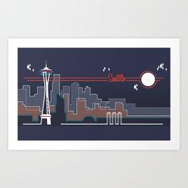 Seattle Skyline // Retroscape Art Print