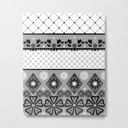 Бело черный  орнамент  . Metal Print